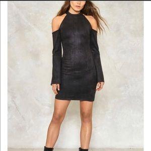 Suedette Cold Shoulder Halter Nasty Gal Dress S/M
